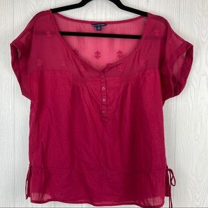 American Eagle Lightweight Embroidered Boho Blouse